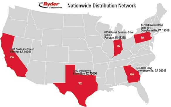 Ryder Fleet Products Warehouse Locations