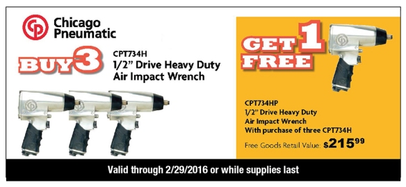 air impact wrench offer - buy 3, get 1 free